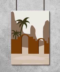 Brązowy plakat z górami do salonu