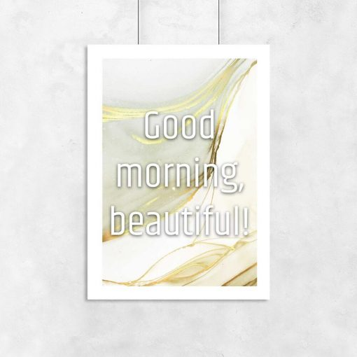 Plakat dzień dobry piękna na tle abstrakcji