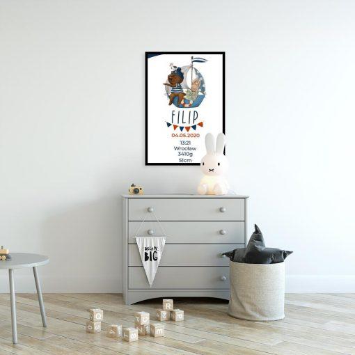 Plakat- Metryczka z niebieskim statkiem i misiem