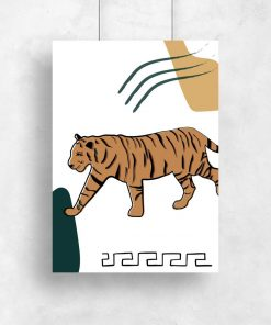 Plakat z ornamentem i tygrysem