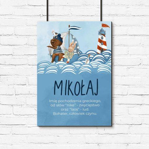Dziecięcy plakat imienny z misiem na statku