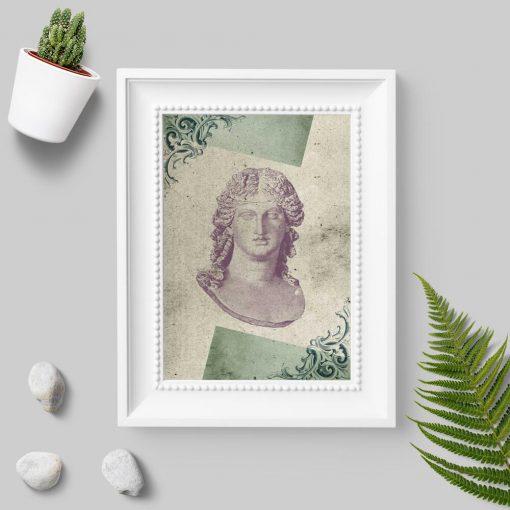 Plakat popiersie kobiety z marmuru