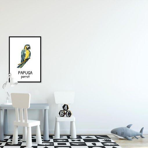 Plakat z papugą dla dzieci