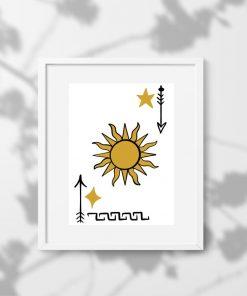 Plakat ze strzałami oraz słońcem
