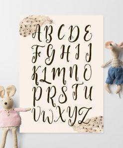 dziecinny plakat w stylu boho z motywem piórek
