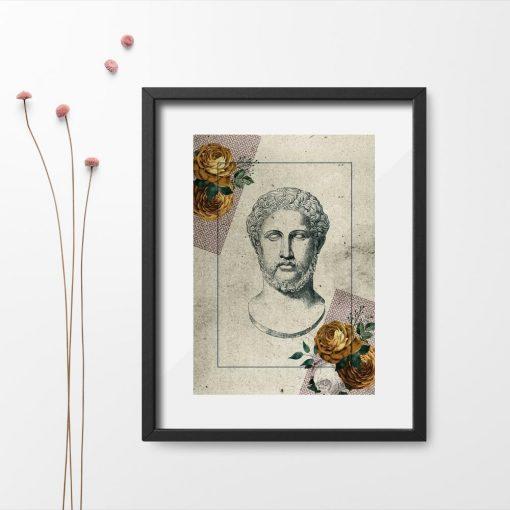 Plakat Grek i kwiaty