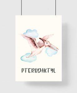Plakat dziecięcy - Pterodaktyl wśród chmur