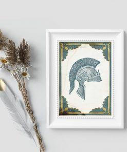 Plakat z hełmem rzymskiego setnika