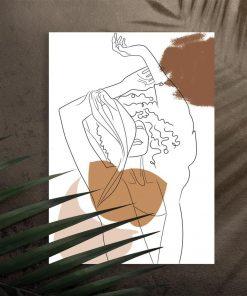 Nowatorski plakat art line z kobietą