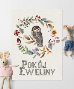 Plakat pokój Eweliny z motywem sówki