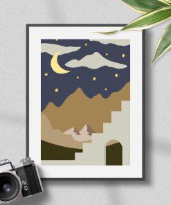 Plakat noc i górskie szczyty