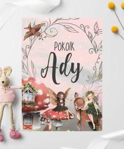 Plakacik z imieniem i leśnymi elfami dla dziewczynki