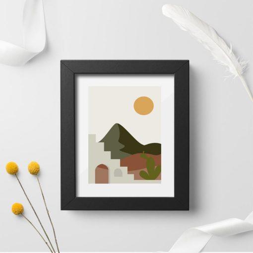 Plakat z pejzażem w słońcu