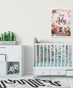 Imienny plakat z elfami do pokoju dziewczynki