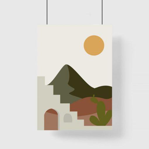 Plakat z krajobrazem skąpanym w słońcu
