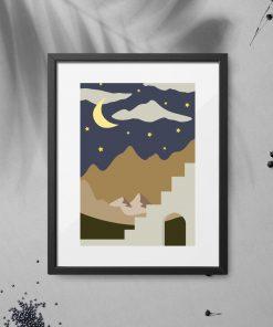 Plakat nocne niebo i ścianą