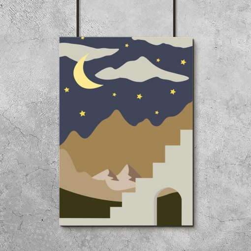 Plakat do oprawienia z nocnym pejzażem