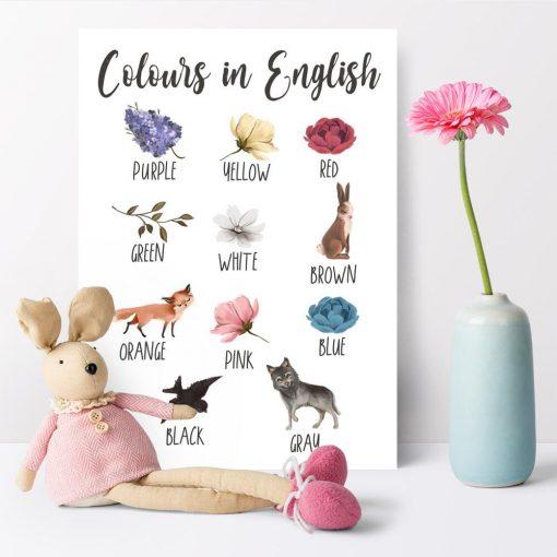 Dydaktyczny plakat dla dzieci - Kolory po angielsku