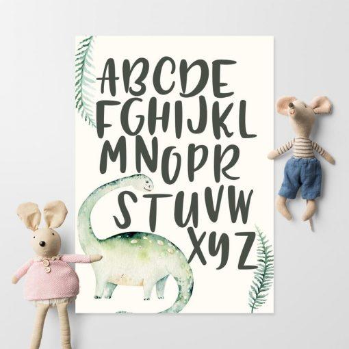 Alfabet i dinozaur plakat dla dzieci