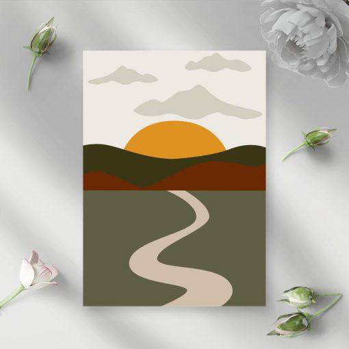 Plakat zachodzące słońce