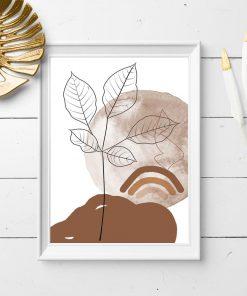 Plakat do restauracji z abstrakcją i liśćmi