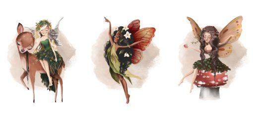 Tryptyk plakat nimfy leśne na muchomorku