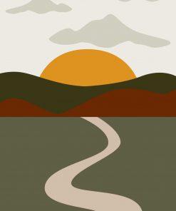 Plakat z widokiem na pejzaż ze słońcem