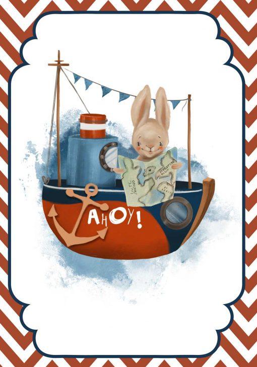 Plakat dla dziecka ze statkiem