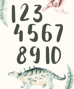 Plakat dla dzieci cyfry i dinozaury