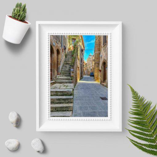 Plakat do oprawienia z kamienną uliczką