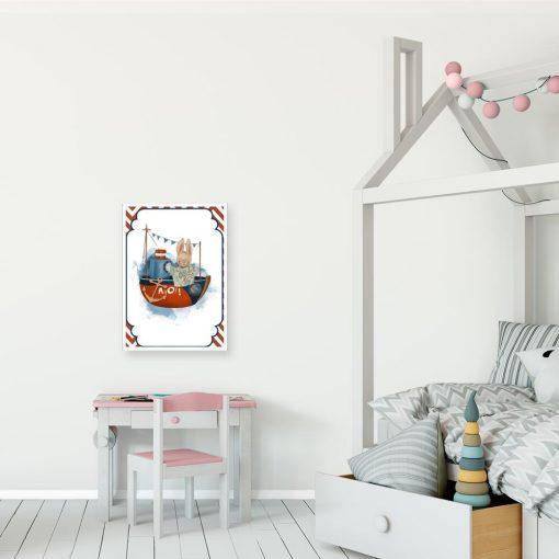 Plakat dziecięcy ze statkiem