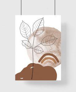 Plakat bez ramy z zachodem słońca i liśćmi