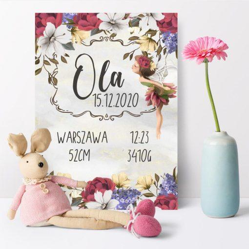 Plakat - Metryczka dla dziewczynek - Bajkowy elf