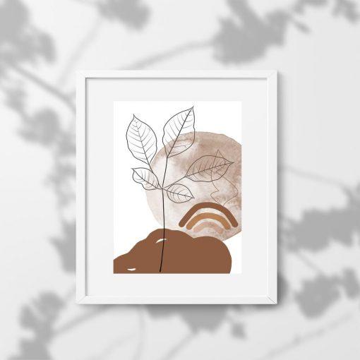 Plakat liście i krajobraz