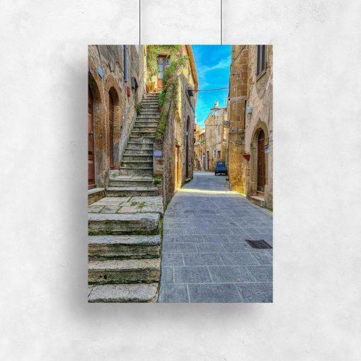 Plakat z motywem uliczki w Pitigliano