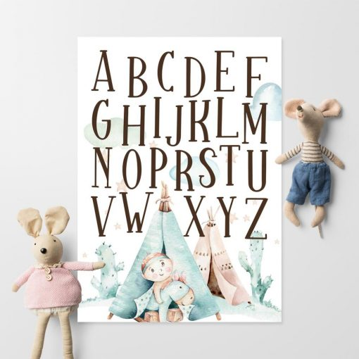 Plakat z alfabetem dla chłopca