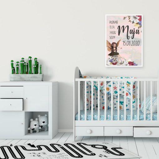 Metryczka- Plakat z polnymi kwiatami do dziecinnego pokoiku
