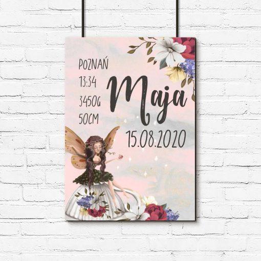 Plakat - Metryczka z wróżką i kwiatami do dziecinnego pokoju