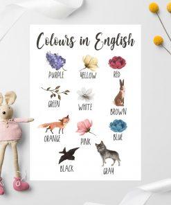 Plakat do nauki kolorów dla dziewczynki - Czerwona peonia