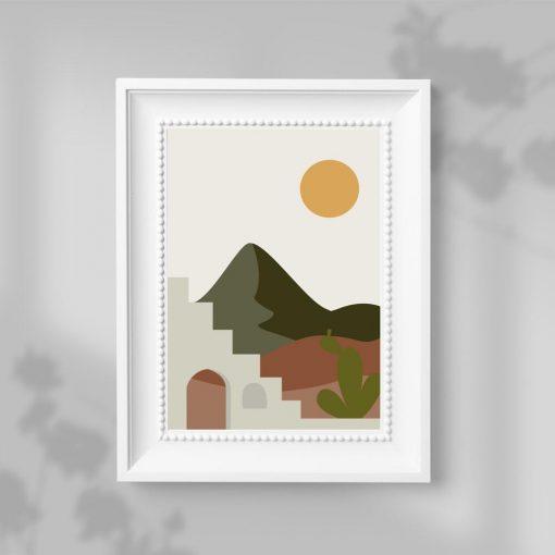 Plakat ze słońcem nad pustynią