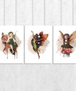 Plakaty Tryptyki z trzema dziewczynkami ze skrzydełkami