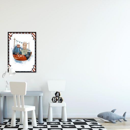 Plakat dziecięcy z motywem statku