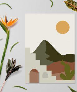 Plakat słońce nad pustynią