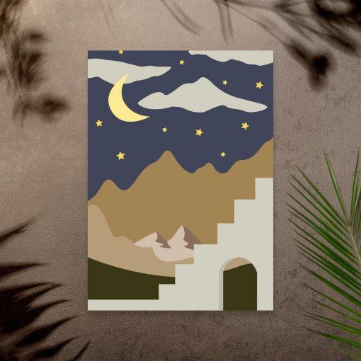 Plakat niebo górskimi szczytami