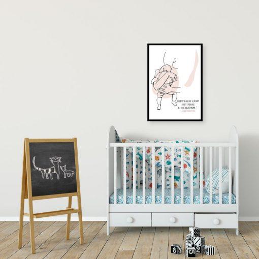 Plakat line art z sentencją dla mamy dla dziewczynki