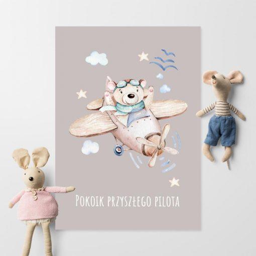 Plakat dziecinny z samolotem i napisem do pokoju chłopca