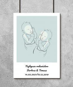 Plakat dziecięcy line art z napisem dla braci