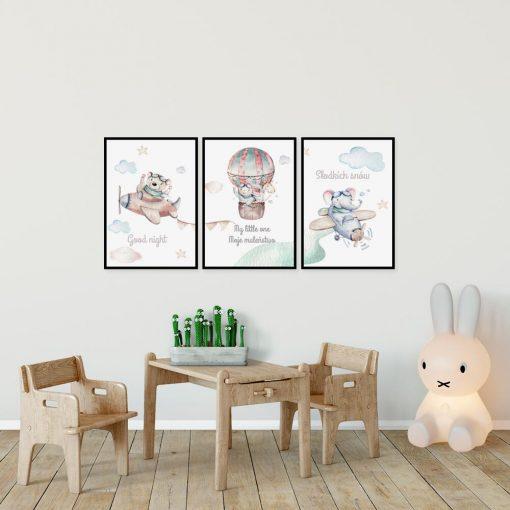 Zestaw plakatów dziecięcych z misiami dla chłopca