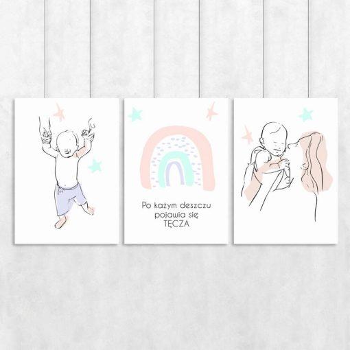 Tryptyk z motywem dziecka i tęczy