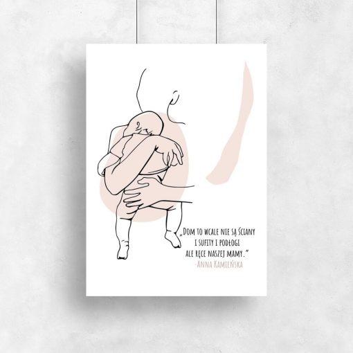 Plakat line art z sentencją dla mamy jako prezent